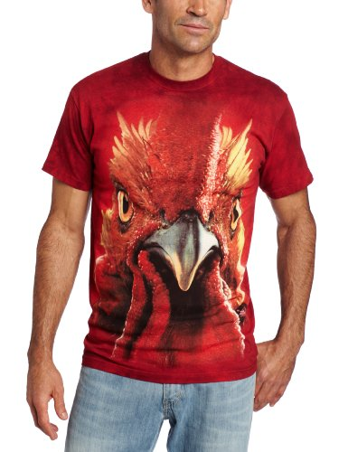 The Mountain Rooster Head Adult T-Shirt, Red, 2XL