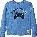 The Original Retro Brand Kids Boy's I Got Game Long Sleeve Tri-Blend Tee (Big Kids) Streaky Blue Medium