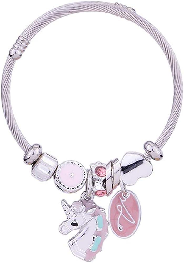 Geschenk f/ür M/ädchen Einhorn-Charm-Armband f/ür M/ädchen s/ü/ßes rosa Kristall verstellbares Einhorn-Armband mit Box