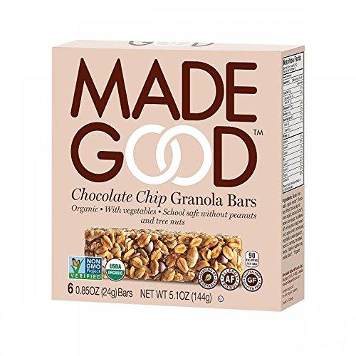 MadeGood Healthy Granola Bars, Chocolate Chip, Gluten-Free Vegan, 6 Bars