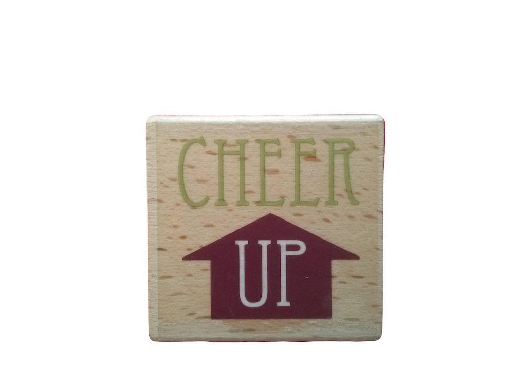 Rubber Stamp Cheer Up! With Wood Base 2 By 2 Inch Block