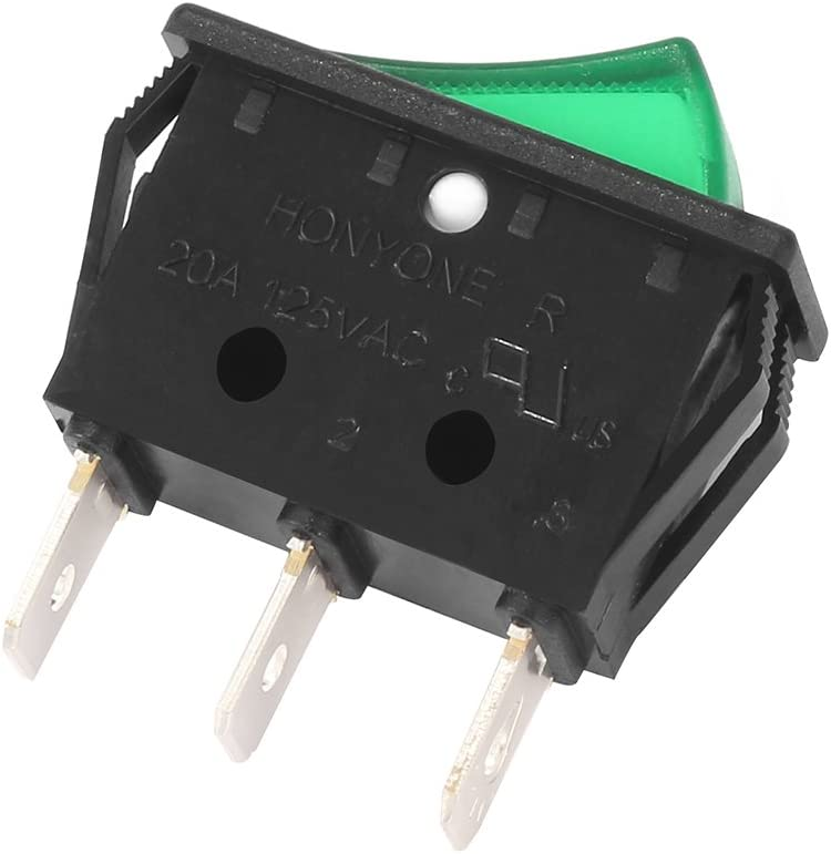 uxcell 10Pcs AC 20A//125V 22A//250V SPST On Off Switch 3P 2 Position Green Light Boat Car Marine Rocker Switches
