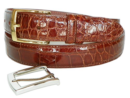 (Genuine American Alligator Belt by Charles Underwood - 2 Classic Buckles-Cognac-42)