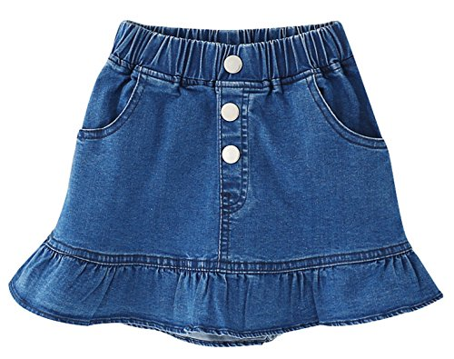 Jean Skirt Skort (Ameyda Kids Kids Skirt, Elastic High Waist Ruffle Denim Scooter Skirt for Toddler & Little Girls, Blue, Tag Size 140 = US 7-8Y)