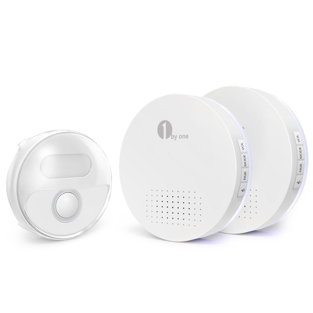 1byone Wireless Doorbell, Waterproof Door Chime Kit Operating at Over 500 Feet with LED Flash Battery-operated 2 Receivers and 1 Push Button , 36 Chimes, 6 Levels Volume, White