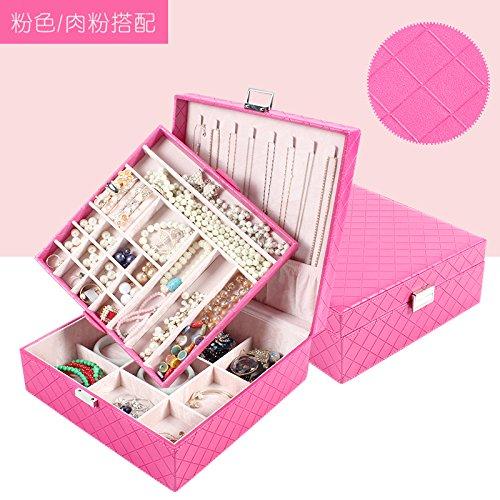 lzzfw Caja de regalo de Navidad Caja de regalo de princesa Joyería de estilo europeo Caja de almacenamiento de aretes de collar doble grande, Rosa