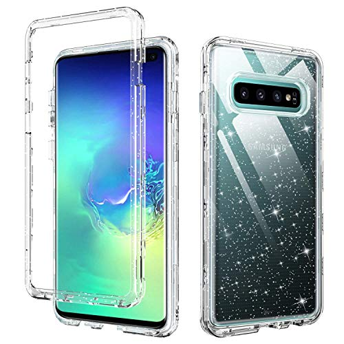 YINLAI Clear Case for Samsung Galaxy S10 Plus,Galaxy S10+ Plus Case,3 in 1 Glitter Shockproof Heavy Duty Full Body Protective Hybrid Hard PC Drop Protection Soft TPU Bumper Case,Clear/Glitter