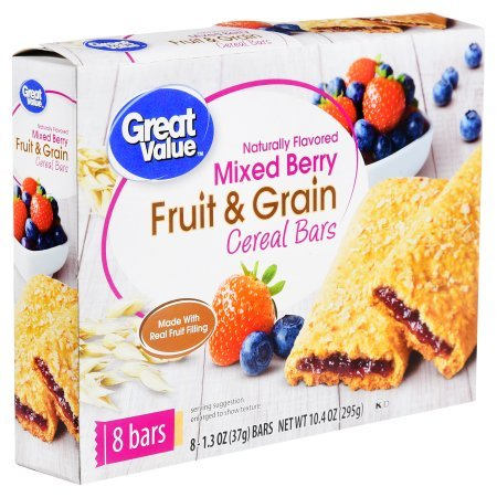 Great Value Fruit & Grain Cereal Bars, Mixed Berry, 10.4 oz, 8 Count (Pack of 2) by Great Value (Image #1)