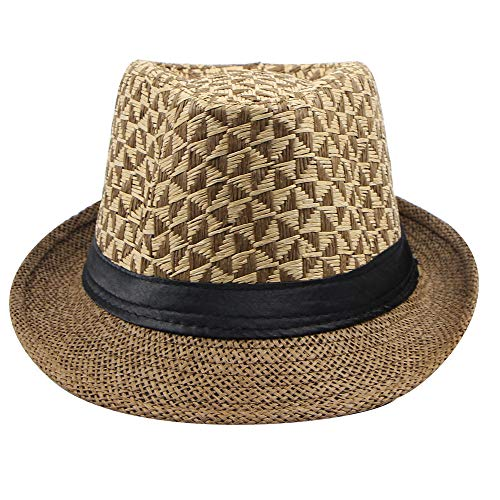 Fashion Spring and Summer Men Paper Straw Plaid Curled Top Hat Coffee