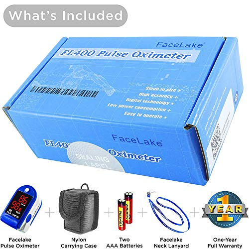Facelake ® FL400 Pulse Oximeter with Carrying Case, Batteries, Neck/Wrist Cord - Blue