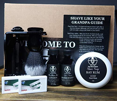 (Hand Made Wet Shave Kit | The Shave Room | Double Edge Razor | Black Tuxedo Shaving Brush | Shaving Soap | PreShave Oil | After Shave Splash | Combo Shave Stand | 10 Platinum Blades (Black))