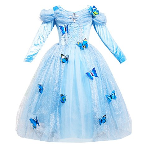 [DreamHigh Cinderella Butterfly Party Girls Costume Dress Size 7-8 Years] (Cinderella Costumes For Girl)