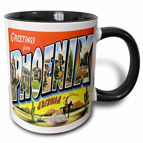 3dRose Greetings From Phoenix Arizona with Cowboy on A Horse with a Lasso and Scenes of the City Two Tone Black Mug, 11 oz, - Outlets In Arizona Phoenix
