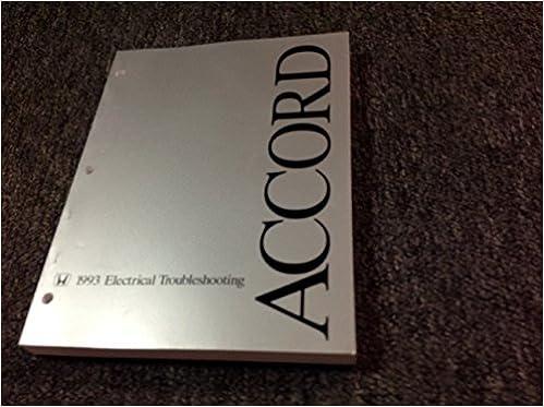 1993 93 Honda Accord Models Electrical Wiring Diagram Troubleshooting Manual Ewd Honda Amazon Com Books