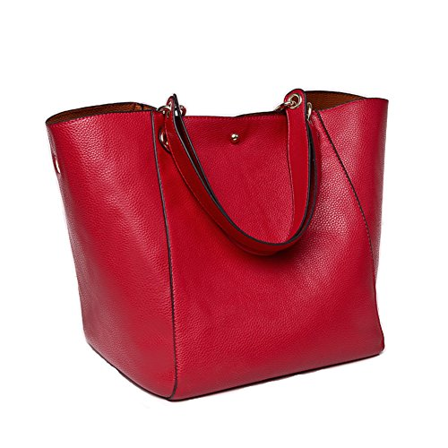Women PU Leather Shoulder Bag Tote Satchel Red - 5