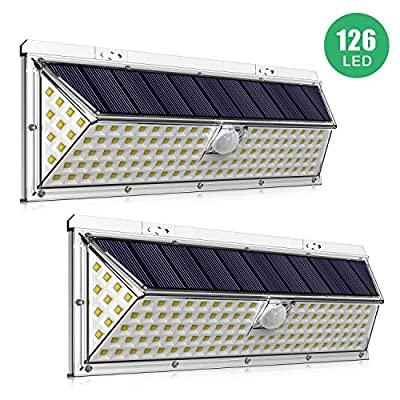 IDESION Solar Light Outdoor, 126 LEDs Solar Lights IP65 Waterproof Motion Sensor Security Wall Lights with 270°Wide Angle for Front Door Yard Garage Porch Step Stair Garden Pathway Patio