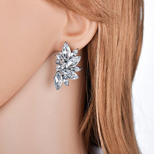 (Kofun Earrings, Colorful Floral Leaf Shape Stud Earring Teardrop Design Crystal Earrings Women White)