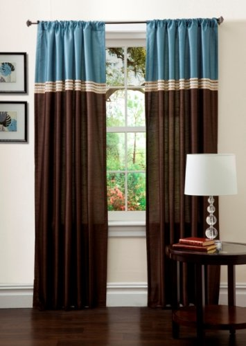 Lush Decor Terra Drapery, Set of 2, Blue/Chocolate (Chocolate Drapes And Blue)