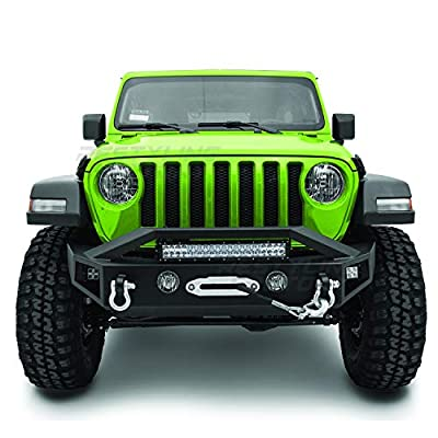 """Restyling Factory - Black Textured Front Bumper with OE Fog Light Hole, 2x D-Ring and Built-In 21~23"""" LED Light bar mount, Side LED mount & Winch Mount Plate for 18-19 Jeep Wrangler JL"""