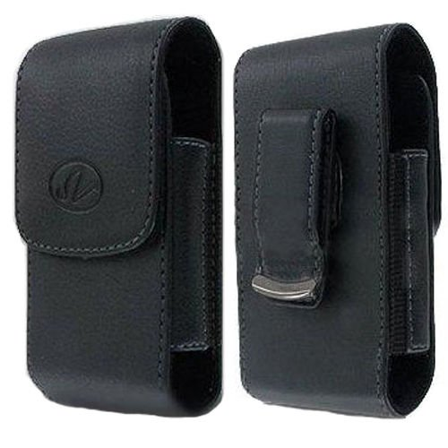 Black Leather Vertical Swivel Case Pouch Cover for LG Ultimate 2 II L41c-Auction4tech Brand