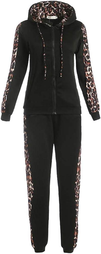 junkai Conjunto Traje Pantalón Largo Chándal Mujer Otoño Invierno Leopardo Cremallera de Bolsillo Sudaderas con Capucha Abrigo 2piezas