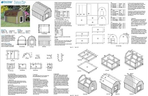 Large Dog House Project Plans Gambrel / Barn Roof Style, Pet Size ...