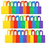 Aneco 30 Pieces 8 by 8 Inches Non-woven Party Bags Tote Bags Party Goodie Treat Bag Rainbow Colors Gift Bag with Handles for Birthday Party Favor, 6 Colors