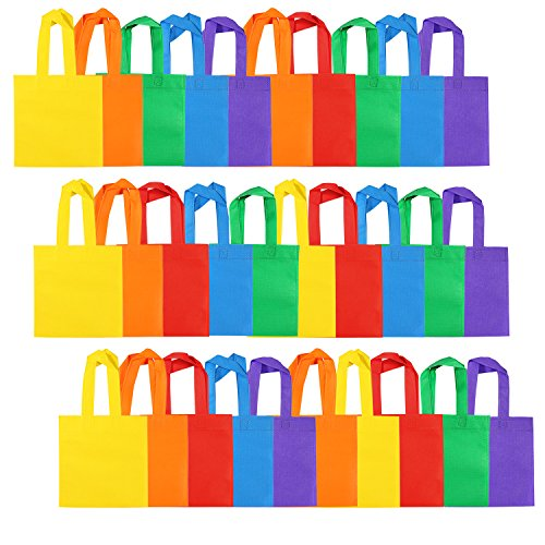 Aneco 30 Pieces 8 by 8 Inches Non-Woven Party Bags Tote Bags Party Goodie Treat Bag Rainbow Colors Gift Bag with Handles for Birthday Party Favor, 6 Colors -