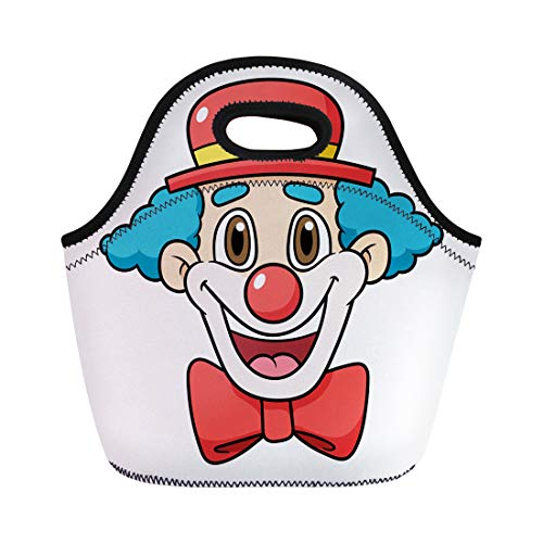 Semtomn Neoprene Lunch Tote Bag Colorful Head Cartoon Clown Face Red Mask Birthday Carnival Reusable Cooler Bags Insulated Thermal Picnic Handbag for Travel,School,Outdoors, Work