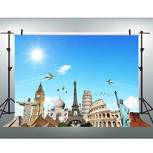 7x5Ft Places of Interest Backdrop, Eiffel Tower and Leaning Tower of Pizza Photography Background, Tourism Backdrop for Pictures YouTube Backdrop XCVV070