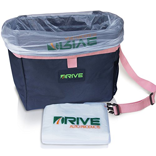 The Drive Bin Car Garbage Can, Pink - Best Auto Trash Bag for Litter, Free Waste Basket Liners -...