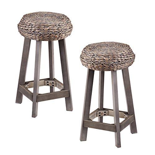 Furniture HotSpot Woven Rattan Counter Stools - 2 PC Set - All Weather Hyacinth w/Acacia Wood Frame ()
