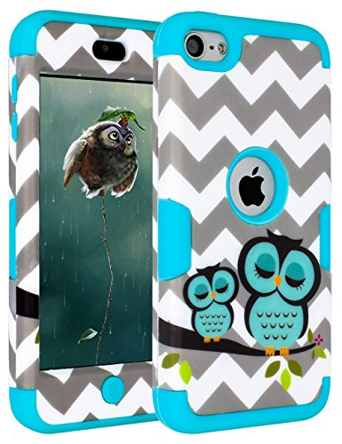 SLMY(TM)iPod Touch 6 Case,iPod Touch 5 Case,Wave Owls Hybrid 3 Layer Hard Case Cover with Silicone Shell Case for Apple iPod touch 5 6th Generation Blue