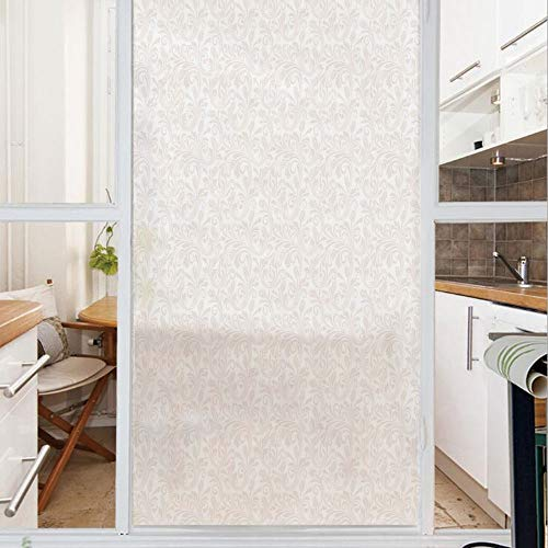 Decorative Window Film,No Glue Frosted Privacy Film,Stained Glass Door Film,Medieval Victorian Petals Baroque Soft Toned Blooms Swirls Flourish Spring Pattern Decorative,for Home & Office,23.6In. by - Stained Glass Victorian Flourish Window
