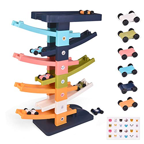 FUN LITTLE TOYS Ramp Racer Toys, Race Track Ramp Toddler Toys with 6 Colorful Mini Cars, Car Ramp Toys for Toddlers