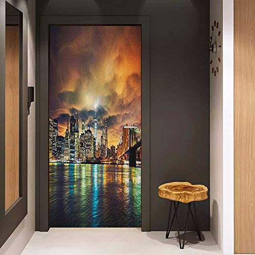 Onefzc Sticker for Door Decoration City Fantasy Dramatic Sky in New York at Nighttime Stormy Sunset Vibrant Water Reflections Door Mural Free Sticker W17.1 x H78.7 Multicolor