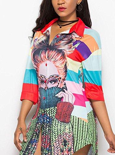 rtro Femmes Longues Style pour imprim dcontracte Manches Courtes Chemise B Manches mi Chemise Hellomiko Ethnique Iw8YqA8