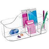 mDesign Office Supplies Desk Organizer Tote for Scissors, Pens, Pencils, Notepads, Markers, Highlighters, Tape - Small, Clear