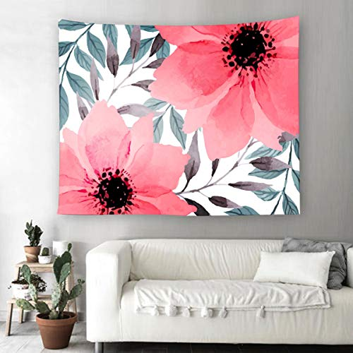Floral Green Tapestry - Supermee Pink Flowers Tapestry Wall Hanging Green Leaves Tapestry Red Floral Wall Blanket Home Decor Bedroom Living Room Dorm Decor, 79X59 Inch