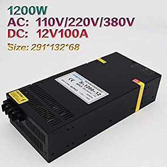 Output Voltage: 12V, Power: 1200W, Input Voltage: 380V Utini High-Power Switching Power Supply S-1200W-12V100A DC Single-Group Output Adjustable Power Supply