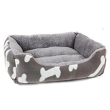 yhuisen Bone Prints pelo corto interior estilo Simple Rectángulo perro cama mascota cama para perros pequeños, gatos y animales de tamaño pequeño o mediano: ...