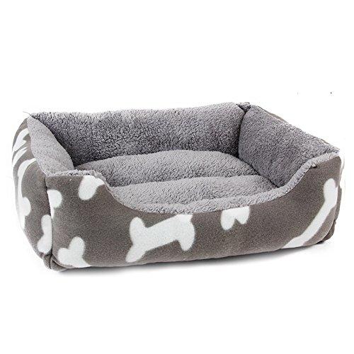 HUBINGRONG Corto de Felpa Estilo Simple Interior Rectangular Cama para Perro Cama para Mascotas con Impresiones óseas para Perros pequeños, Gatos y Animales ...