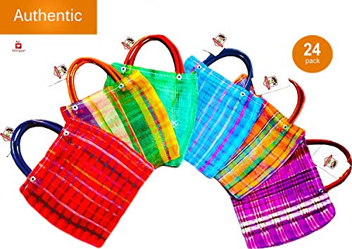 Alondra's Imports️ New (TM) Uniquely Designed, Mini Mexican Tote Favor Bags (Mexican Candy Bags - Mexican Mercado Bags - Mexican Mesh Bags - Bolsas Para Fiestas) 10 x 7 - Multi-Colored (24 Pack)]()