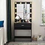 Tribesigns Vanity Set with Lighted Mirror, Makeup Vanity Dressing Table Dresser Desk with Large Drawre for Bedroom, Black (10 Warm LED Bulb)