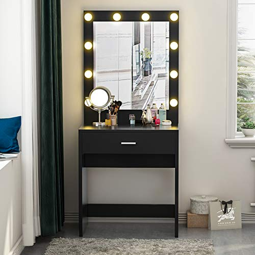 Tribesigns Vanity Set with Lighted Mirror, Makeup Vanity Dressing Table Dresser Desk for Bedroom, Black (10 Warm LED Bulb) - Bedroom Vanity