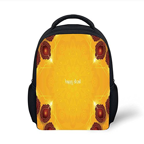 iPrint Kids School Backpack Diwali Decor,Paisley Decor Backdrop Wooden Candle Light like Ornamental Frames Artwork Print,Yellow Plain Bookbag Travel Daypack by iPrint