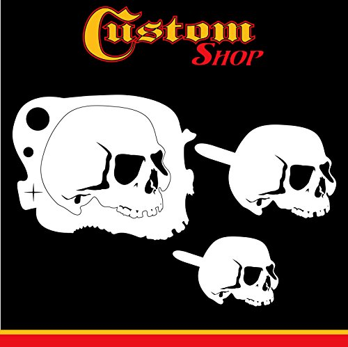 Custom Shop Airbrush Stencil Skull Design Set #5-3 Laser Cut Reusable Templates - Auto, Motorcycle Graphic Art (Airbrush Skull Stencils Reusable)