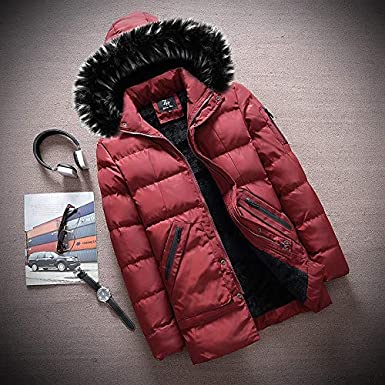MEANIT Mens Classic Hooded Puffer Jacket,Autumn Winter Casual Solid Jacket Long Sleeved Coat