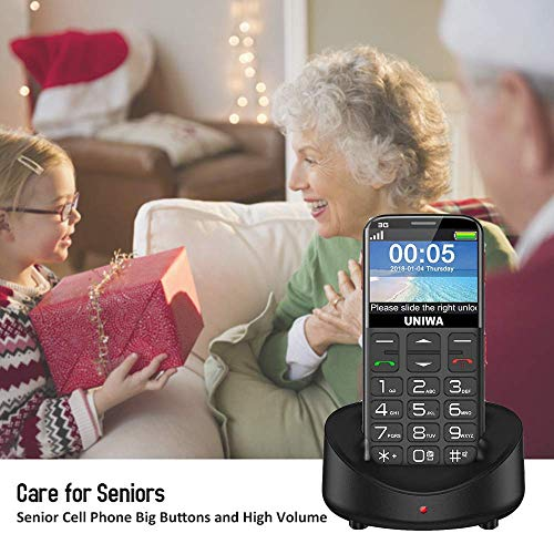 """UNIWA Unlocked Cell Phone 3G Senior Cell Phone WCDMA GSM Cell Phone for Elderly People, 2.31"""" Curved Screen Embossed Keyboard Big Button Big Font SOS Emergency Simple Phone with Charging Dock (Black) (Renewed)"""