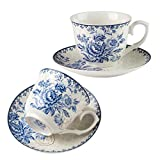 Finecasa Blue Dream Bone China Tableware (2 cup 2 saucer, Blue Dream)
